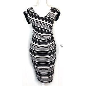 Liz Lange Maternity•Stripe Maternity Dress Black